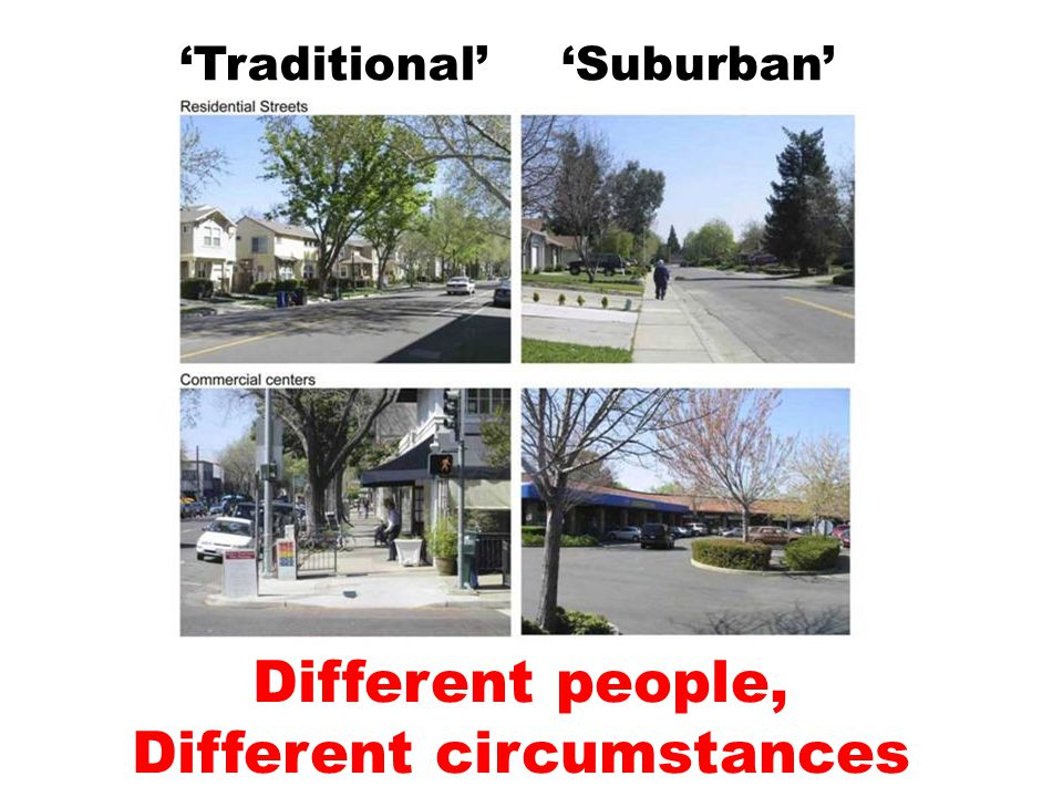 'Traditional' 'Suburban' Different people, Different circumstances