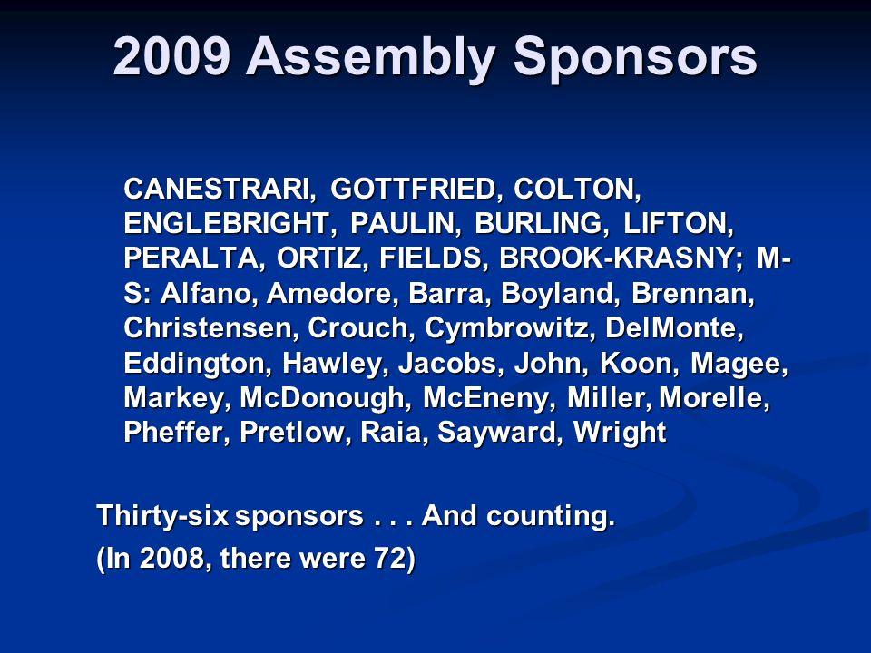 2009 Assembly Sponsors CANESTRARI, GOTTFRIED, COLTON, ENGLEBRIGHT, PAULIN, BURLING, LIFTON, PERALTA, ORTIZ, FIELDS, BROOK-KRASNY; M- S: Alfano, Amedore, Barra, Boyland, Brennan, Christensen, Crouch, Cymbrowitz, DelMonte, Eddington, Hawley, Jacobs, John, Koon, Magee, Markey, McDonough, McEneny, Miller, Morelle, Pheffer, Pretlow, Raia, Sayward, Wright Thirty-six sponsors...