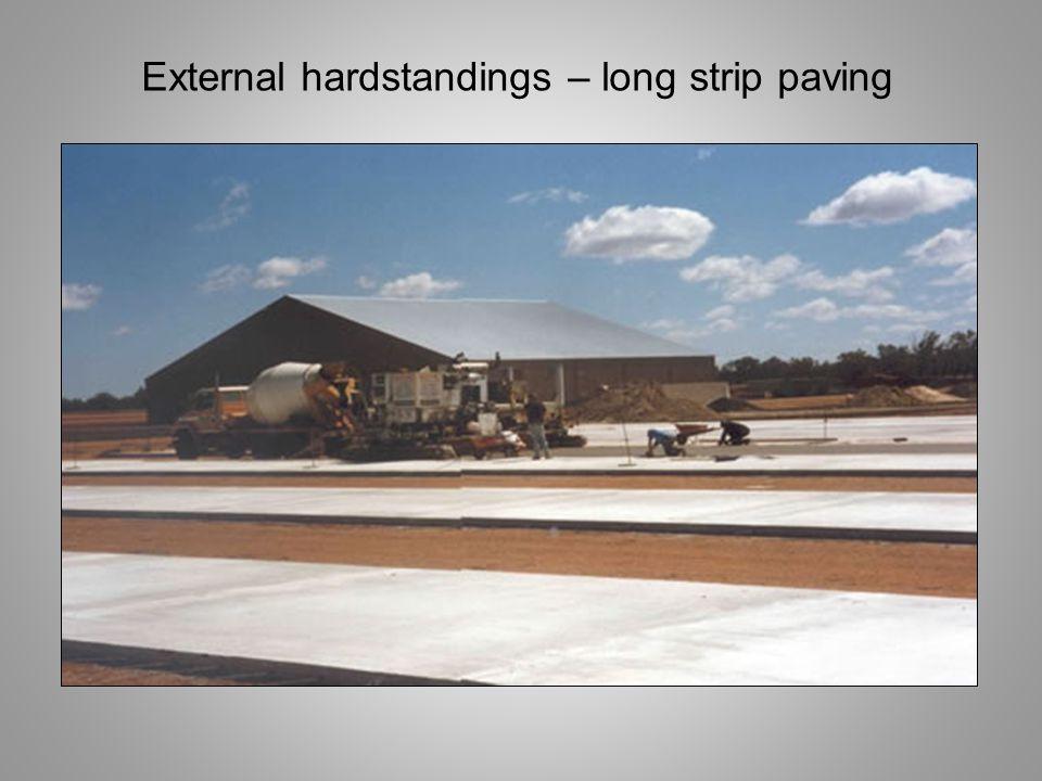 External hardstandings – long strip paving