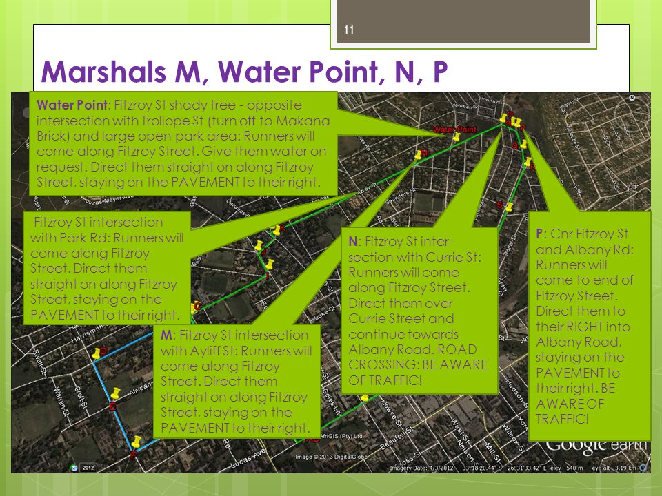 Marshals M, Water Point, N, P 11 Water Point : Fitzroy St shady tree - opposite intersection with Trollope St (turn off to Makana Brick) and large open park area: Runners will come along Fitzroy Street.