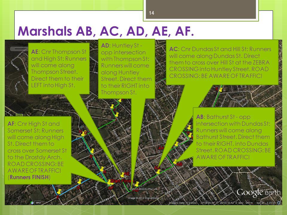 Marshals AB, AC, AD, AE, AF.