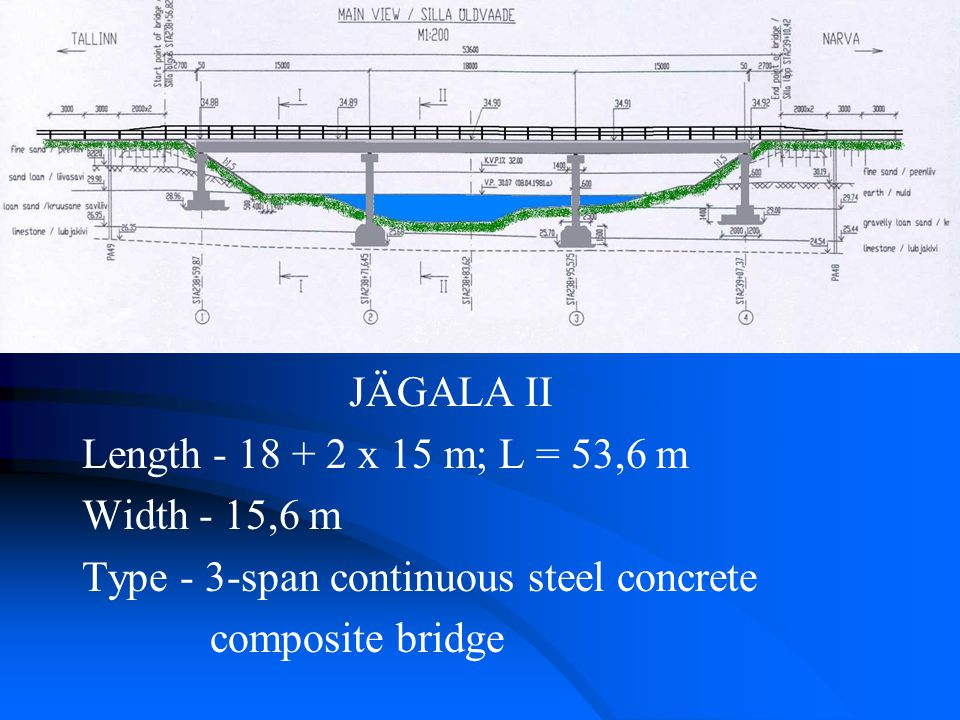 JÄGALA II Length - 18 + 2 x 15 m; L = 53,6 m Width - 15,6 m Type - 3-span continuous steel concrete composite bridge