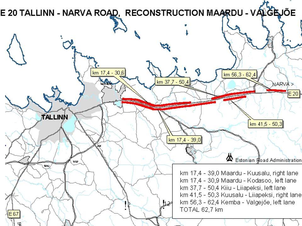MAIN PARAMETERS pavement - 11,5 m (1 + 2 x 3,75 + 3) embankment - 10 - 12,25 m road - 35,5 - 37,5 m central reserve ~ 11 m