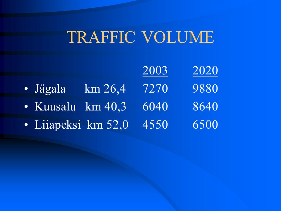 TRAFFIC VOLUME 20032020 Jägala km 26,4 7270 9880 Kuusalu km 40,3 60408640 Liiapeksi km 52,0 45506500