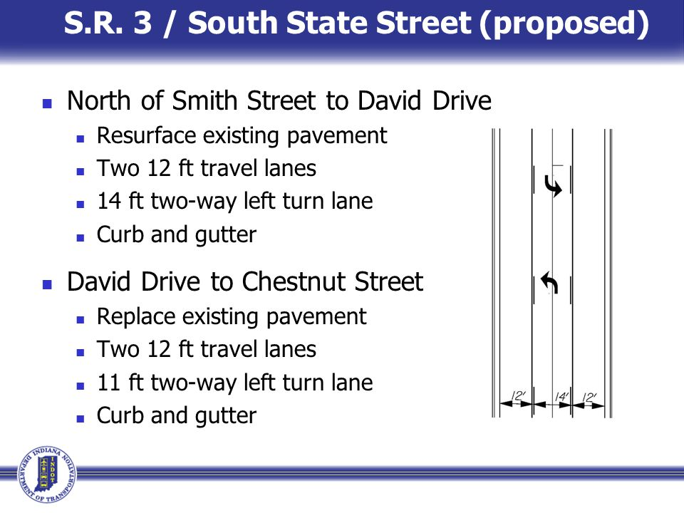 S.R. 3 / South State Street (proposed) North of Smith Street to David Drive Resurface existing pavement Two 12 ft travel lanes 14 ft two-way left turn