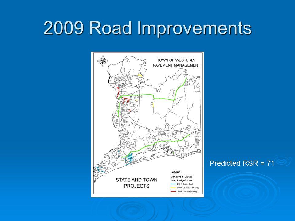2009 Road Improvements Predicted RSR = 71