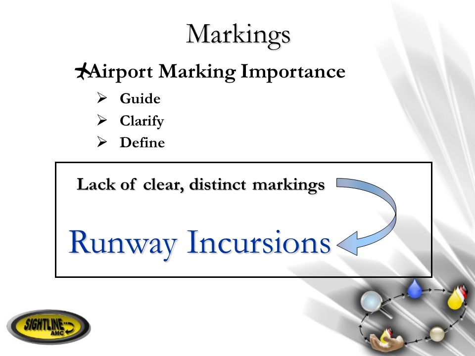 Markings  Airport Marking Importance  Guide  Clarify  Define Runway Incursions Lack of clear, distinct markings