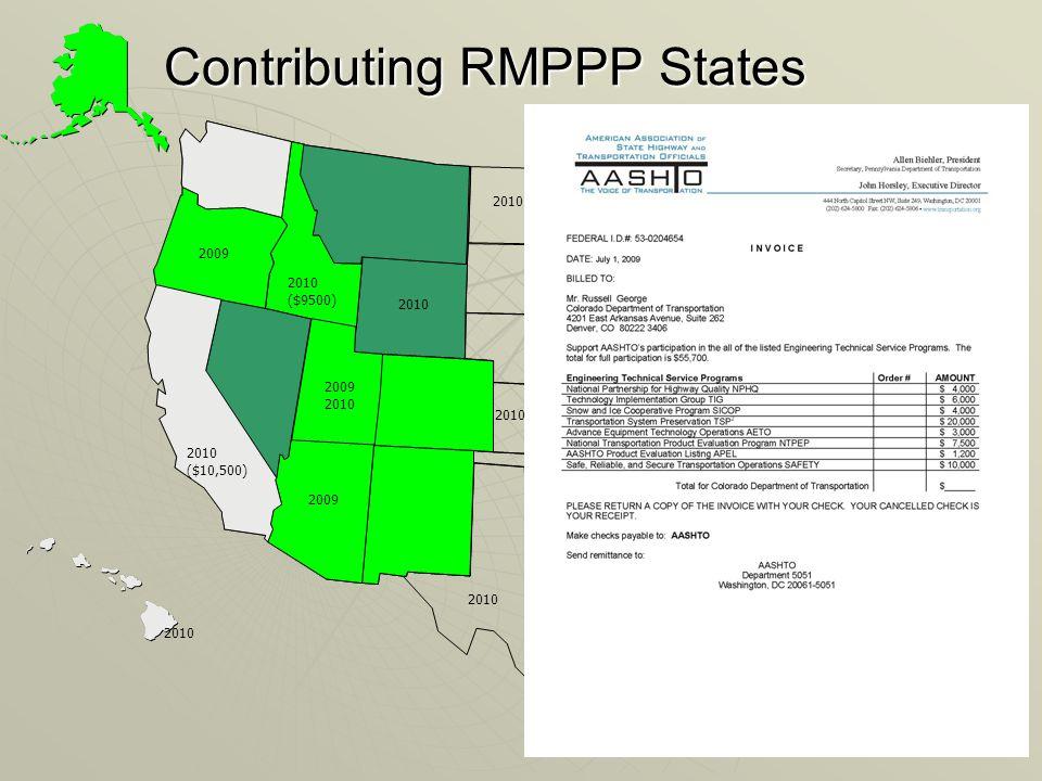 Contributing RMPPP States 2010 ($9500) 2009 2010 2009 2010 2009 2010 2010 ($10,500) 2010