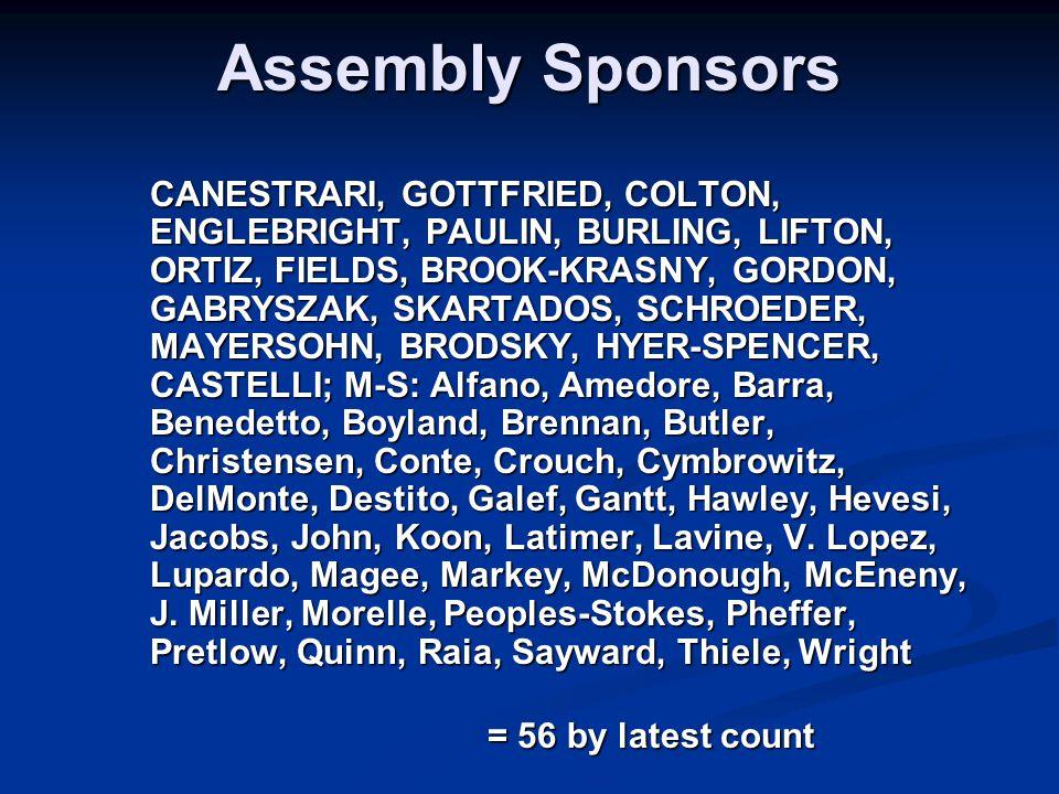 Assembly Sponsors CANESTRARI, GOTTFRIED, COLTON, ENGLEBRIGHT, PAULIN, BURLING, LIFTON, ORTIZ, FIELDS, BROOK-KRASNY, GORDON, GABRYSZAK, SKARTADOS, SCHROEDER, MAYERSOHN, BRODSKY, HYER-SPENCER, CASTELLI; M-S: Alfano, Amedore, Barra, Benedetto, Boyland, Brennan, Butler, Christensen, Conte, Crouch, Cymbrowitz, DelMonte, Destito, Galef, Gantt, Hawley, Hevesi, Jacobs, John, Koon, Latimer, Lavine, V.