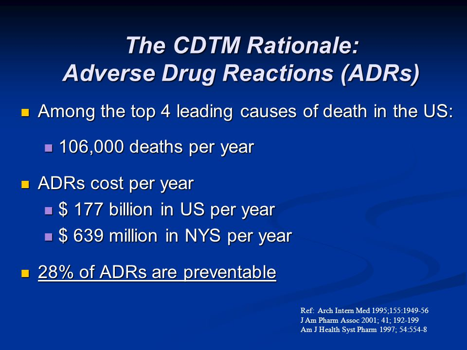 Adverse Drug Reactions- 4th leading cause of death in US Accidents Cancer Heart Disease Diabetes Adverse Drug Reactions Pneumonia Pulmonary Disease Stroke Ref: JAMA 1998;279:1200-5.