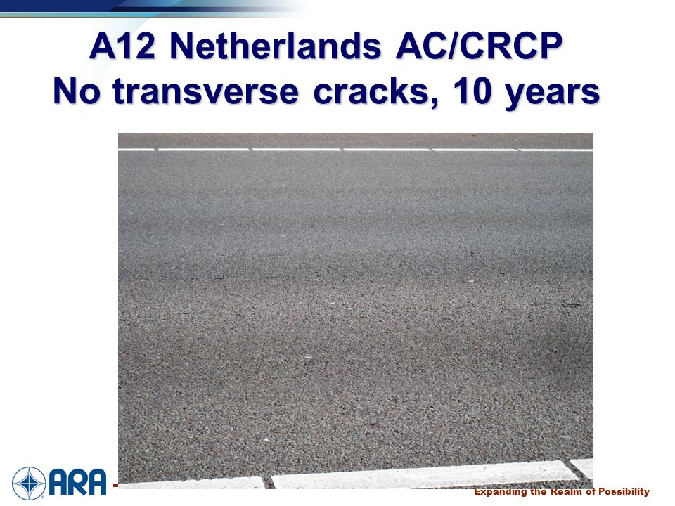 a Expanding the Realm of Possibility A12 Netherlands AC/CRCP No transverse cracks, 10 years