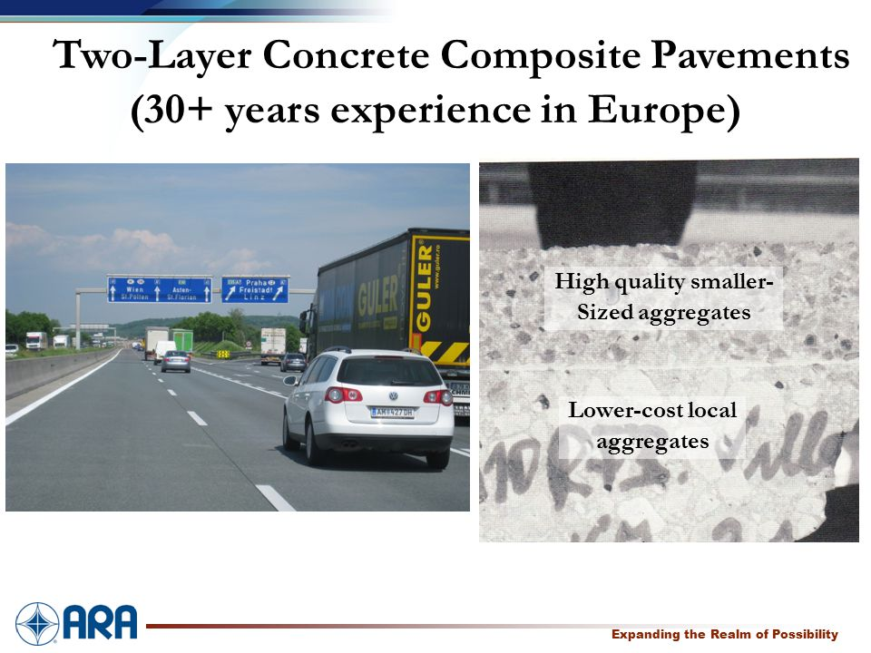 a Expanding the Realm of Possibility Two-Layer Concrete Composite Pavements (30+ years experience in Europe) High quality smaller- Sized aggregates Lower-cost local aggregates