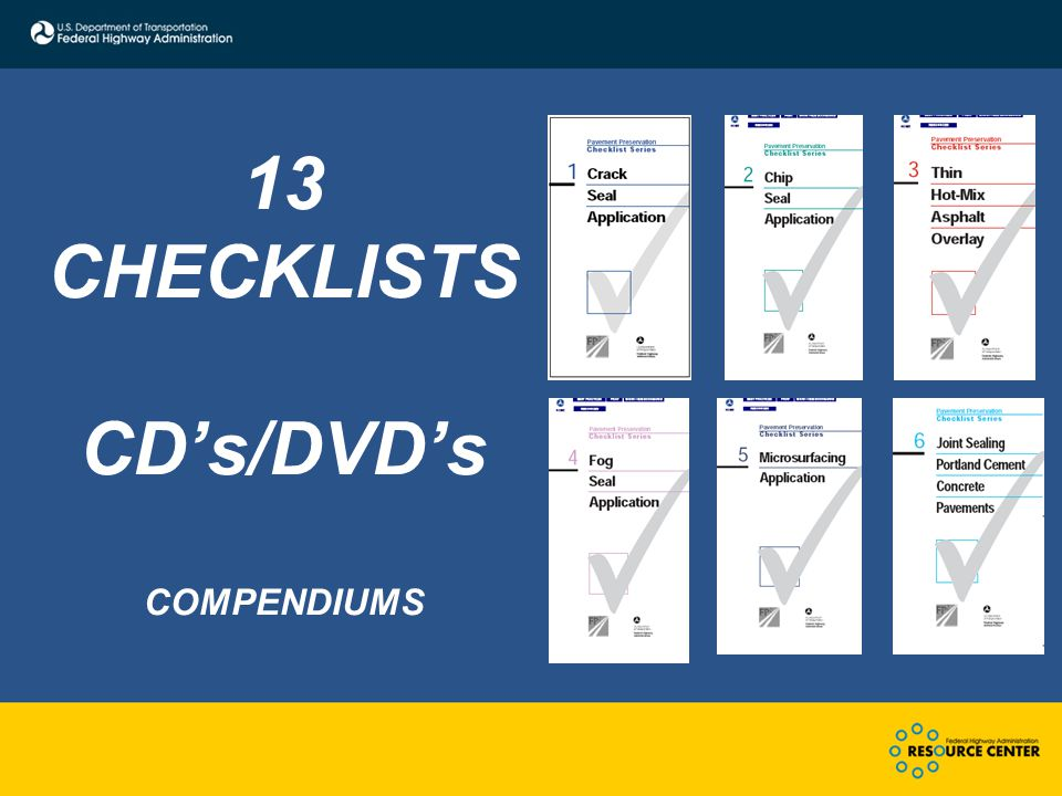 13 CHECKLISTS CD's/DVD's COMPENDIUMS