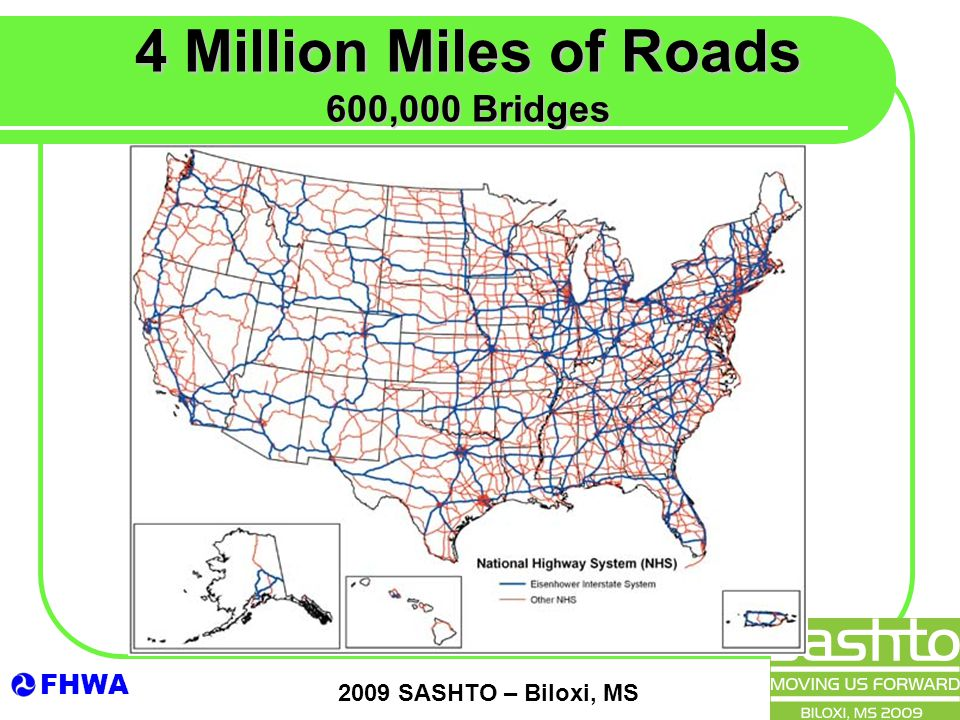 FHWA 2009 SASHTO – Biloxi, MS 4 Million Miles of Roads 600,000 Bridges