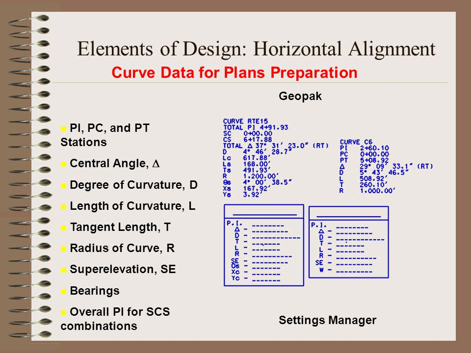 Curve Data for Plans Preparation Settings Manager Geopak PI, PC, and PT Stations Central Angle,  Degree of Curvature, D Length of Curvature, L Tangen