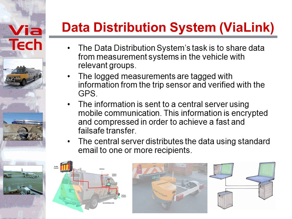 Data Distribution System (ViaLink) The Data Distribution System's task is to share data from measurement systems in the vehicle with relevant groups.