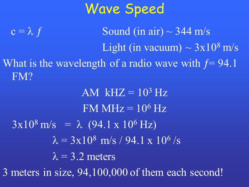 Wave Speed c =  Sound (in air) ~ 344 m/s Light (in vacuum) ~ 3x10 8 m/s What is the wavelength of a radio wave with  = 94.1 FM? AM kHZ = 10 3 Hz FM