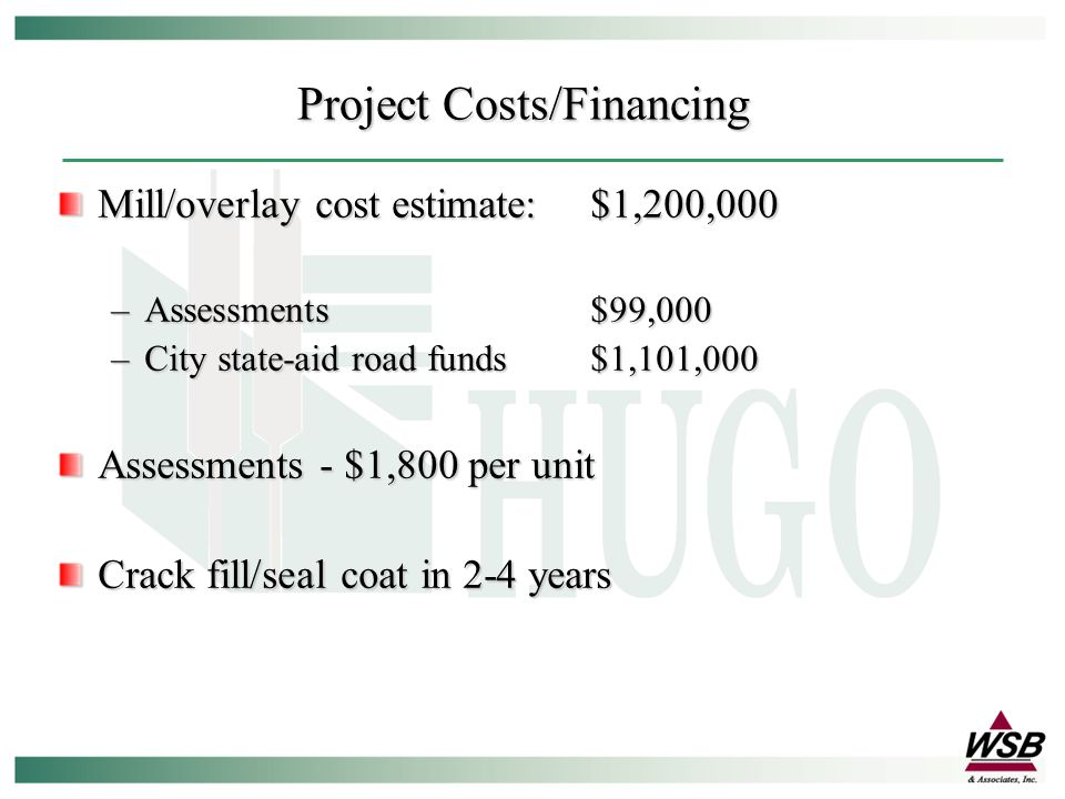 Mill/overlay cost estimate:$1,200,000 –Assessments$99,000 –City state-aid road funds$1,101,000 Assessments - $1,800 per unit Crack fill/seal coat in 2-4 years Project Costs/Financing