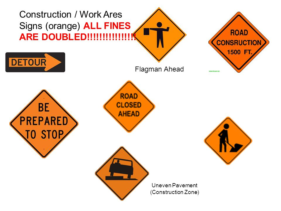 Flagman Ahead Construction / Work Ares Signs (orange) ALL FINES ARE DOUBLED!!!!!!!!!!!!!!!.