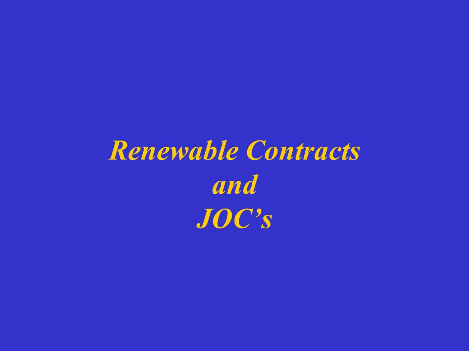 Renewable Contracts and JOC's