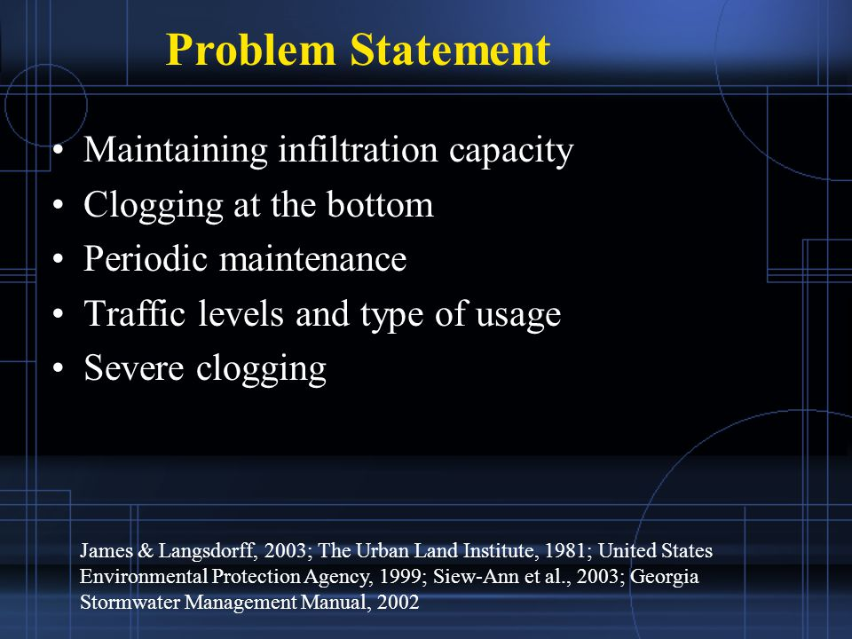 Maintaining infiltration capacity Clogging at the bottom Periodic maintenance Traffic levels and type of usage Severe clogging Problem Statement James & Langsdorff, 2003; The Urban Land Institute, 1981; United States Environmental Protection Agency, 1999; Siew-Ann et al., 2003; Georgia Stormwater Management Manual, 2002