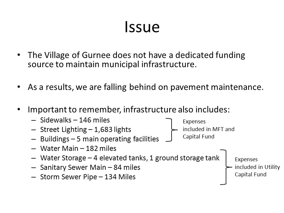 Issue The Village of Gurnee does not have a dedicated funding source to maintain municipal infrastructure.