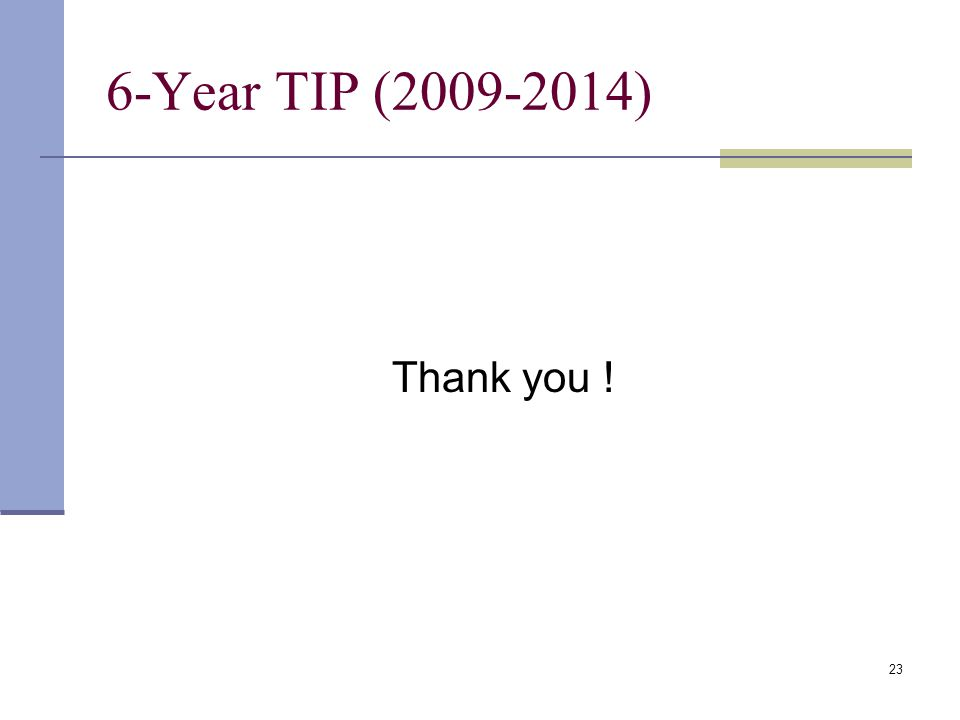 23 6-Year TIP (2009-2014) Thank you !