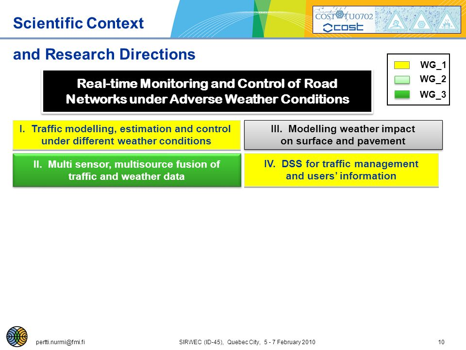 pertti.nurmi@fmi.fi SIRWEC (ID-45), Quebec City, 5 - 7 February 201010 Scientific Context and Research Directions Real-time Monitoring and Control of Road Networks under Adverse Weather Conditions Real-time Monitoring and Control of Road Networks under Adverse Weather Conditions I.