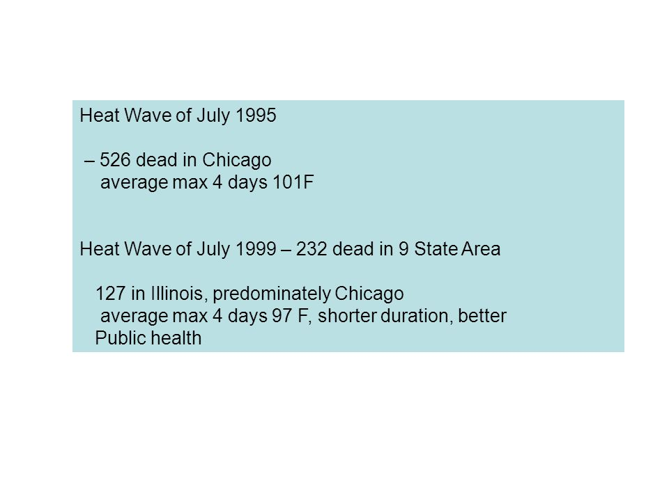 Heat Wave of July 1995 – 526 dead in Chicago average max 4 days 101F Heat Wave of July 1999 – 232 dead in 9 State Area 127 in Illinois, predominately Chicago average max 4 days 97 F, shorter duration, better Public health