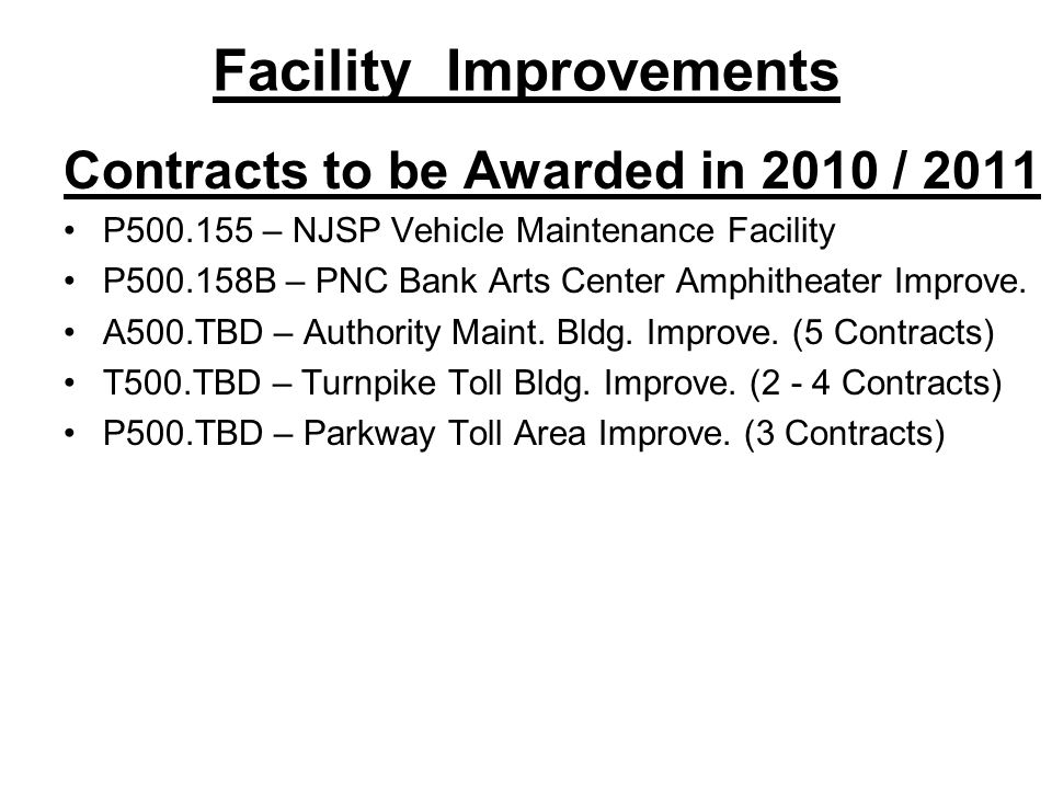 Sign System Improvements Contracts to be Awarded in 2010 / 2011 T600.156 – Turnpike Sign Panel Replacement – 0 to 48.7 A600.102A – Install VMS on Turnpike and Parkway A600.157 – Advance Sign Structure Fab.