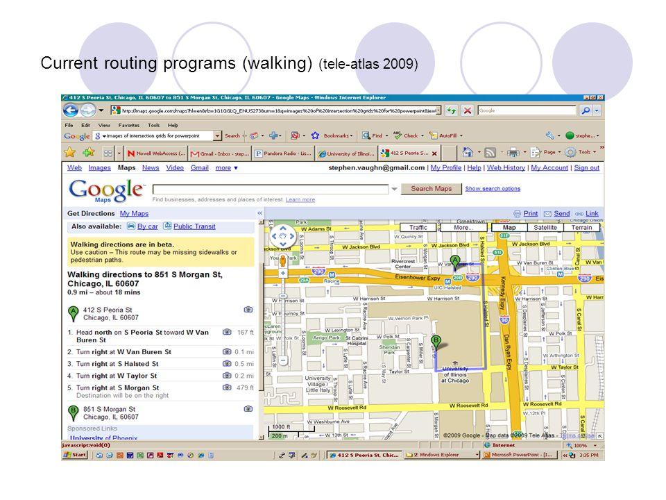 Current routing programs (walking) (tele-atlas 2009)