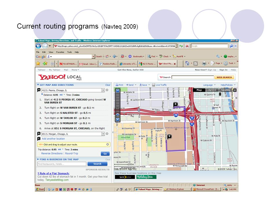 Current routing programs (Navteq 2009)