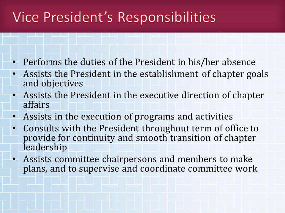 Performs the duties of the President in his/her absence Assists the President in the establishment of chapter goals and objectives Assists the President in the executive direction of chapter affairs Assists in the execution of programs and activities Consults with the President throughout term of office to provide for continuity and smooth transition of chapter leadership Assists committee chairpersons and members to make plans, and to supervise and coordinate committee work
