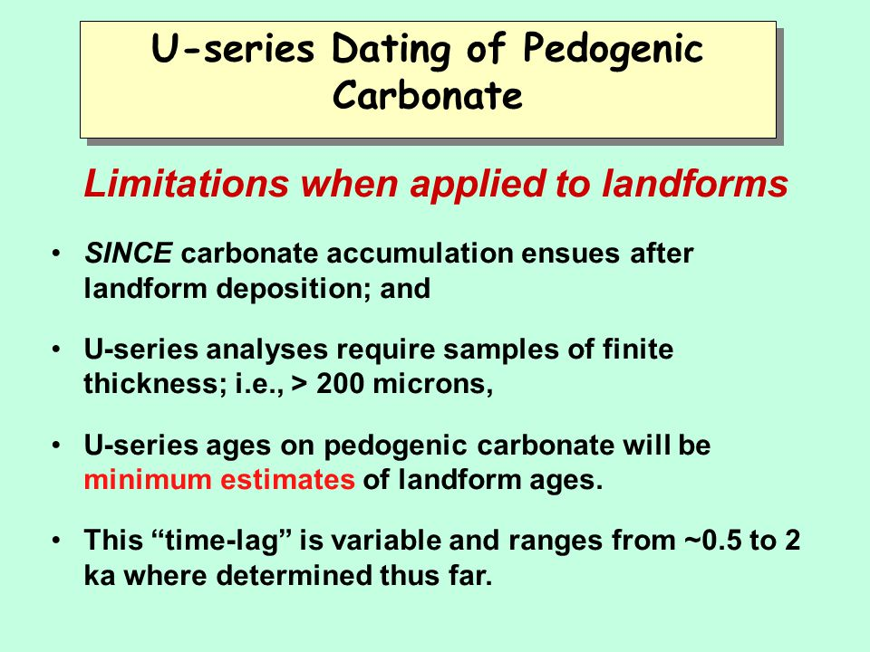 U-series Dating of Pedogenic Carbonate Limitations when applied to landforms SINCE carbonate accumulation ensues after landform deposition; and U-seri