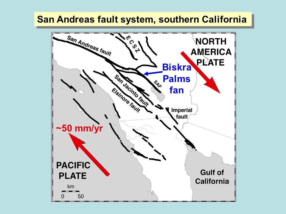 San Andreas fault system, southern California ~50 mm/yr Biskra Palms fan