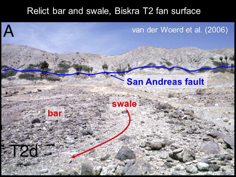 Relict bar and swale, Biskra T2 fan surface van der Woerd et al. (2006) swale San Andreas fault bar