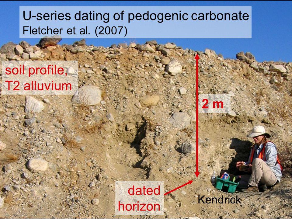U-series dating of pedogenic carbonate Fletcher et al. (2007) Kendrick 2 m dated horizon soil profile, T2 alluvium