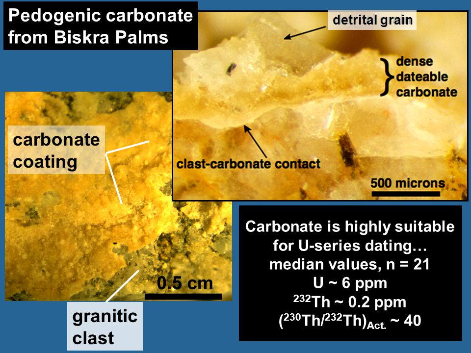 granitic clast carbonate coating Carbonate is highly suitable for U-series dating… median values, n = 21 U ~ 6 ppm 232 Th ~ 0.2 ppm ( 230 Th/ 232 Th)