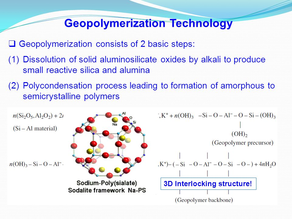  Geopolymerization consists of 2 basic steps: (1)Dissolution of solid aluminosilicate oxides by alkali to produce small reactive silica and alumina (