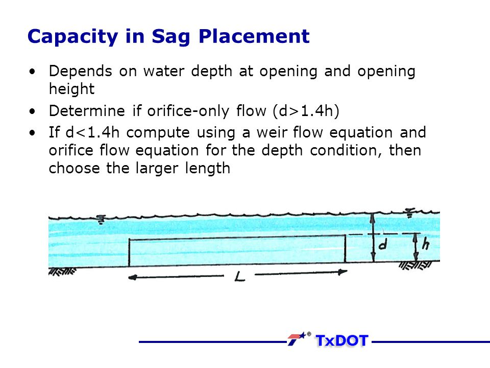 Capacity in Sag Placement Depends on water depth at opening and opening height Determine if orifice-only flow (d>1.4h) If d<1.4h compute using a weir