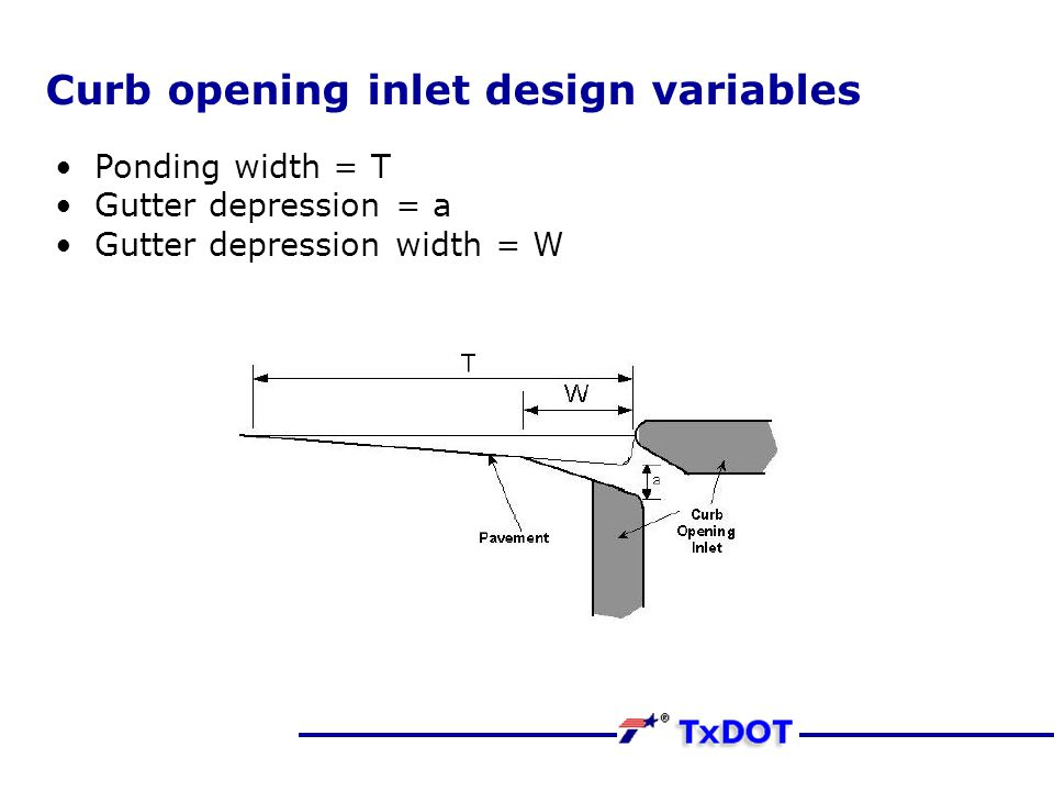 Curb opening inlet design variables Ponding width = T Gutter depression = a Gutter depression width = W