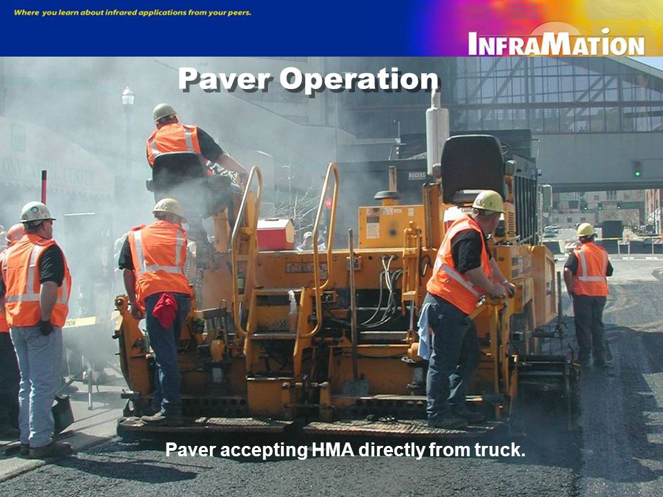 1999 Study Results — MTV performance The Material Transfer Vehicle (MTV) accepts HMA from the truck (left), remixes it, and offloads it into the paver (right), which is followed by a compactor.