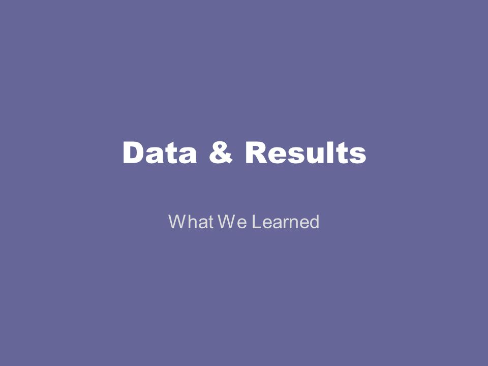 Data & Results What We Learned