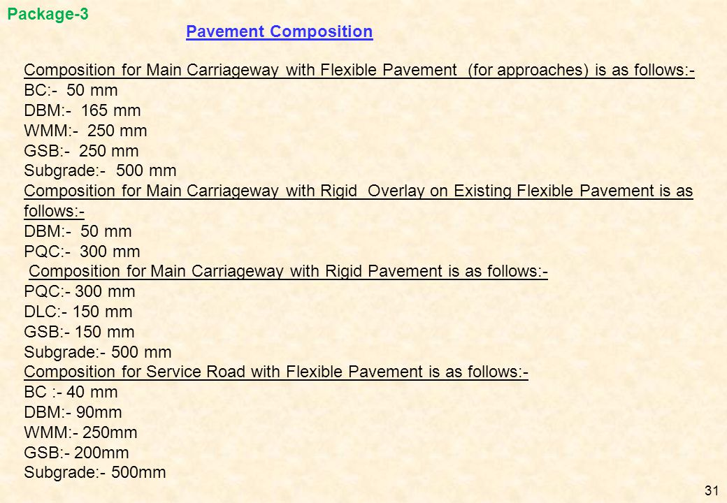 Pavement Composition Composition for Main Carriageway with Flexible Pavement (for approaches) is as follows:- BC:- 50 mm DBM:- 165 mm WMM:- 250 mm GSB
