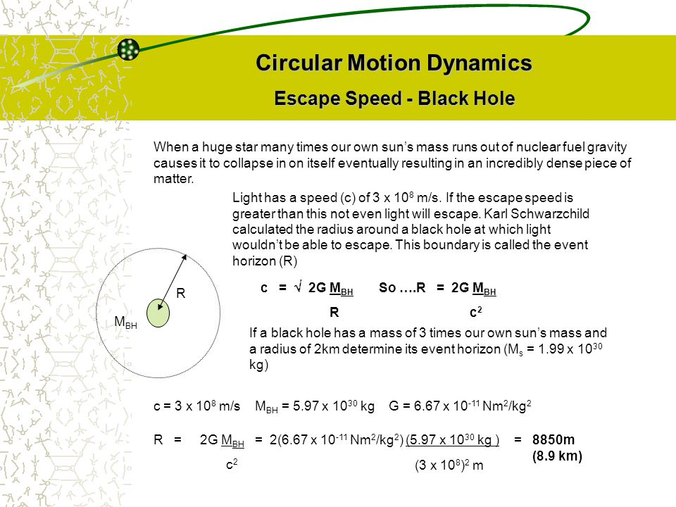 Circular Motion Dynamics Escape Speed - Black Hole When a huge star many times our own sun's mass runs out of nuclear fuel gravity causes it to collap