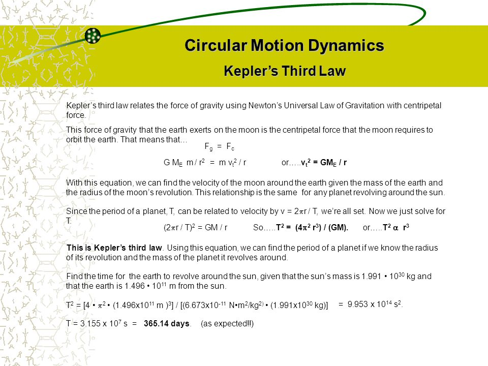 Circular Motion Dynamics Kepler's Third Law Kepler's third law relates the force of gravity using Newton's Universal Law of Gravitation with centripet