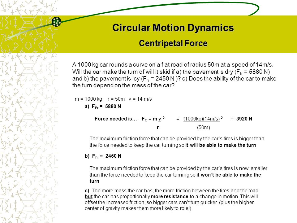 Circular Motion Dynamics Centripetal Force F C = m v 2 r A 1000 kg car rounds a curve on a flat road of radius 50m at a speed of 14m/s. Will the car m