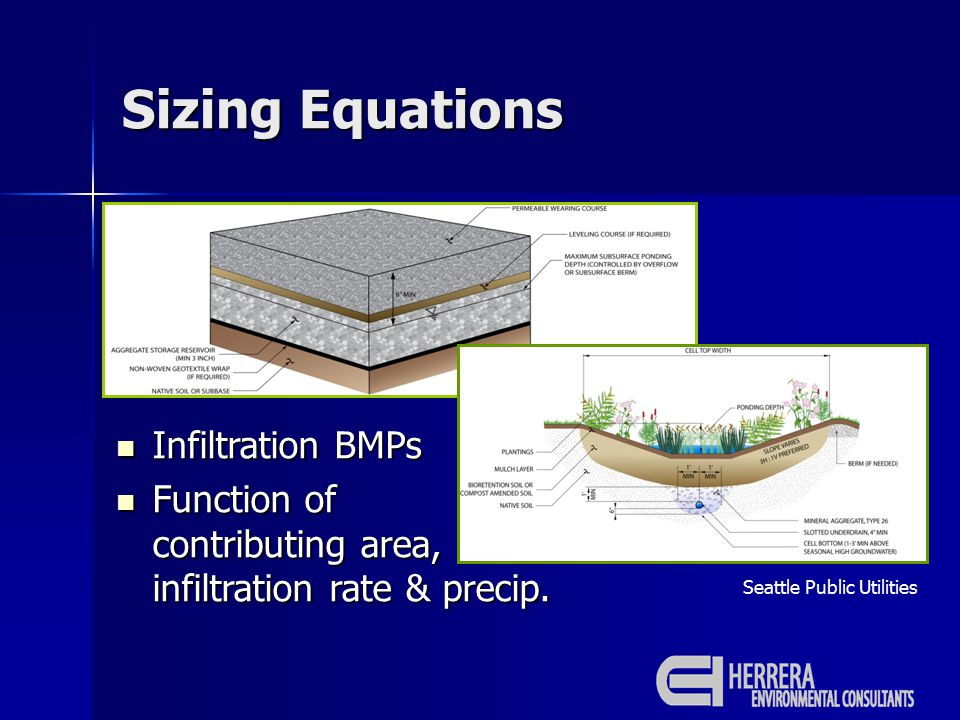 Sizing Equations Seattle Public Utilities Infiltration BMPs Infiltration BMPs Function of contributing area, infiltration rate & precip.