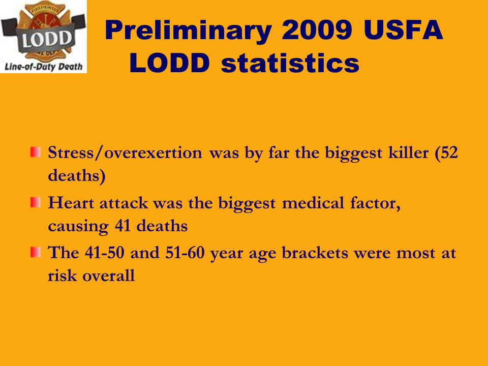 Preliminary 2009 USFA LODD statistics Stress/overexertion was by far the biggest killer (52 deaths) Heart attack was the biggest medical factor, causi