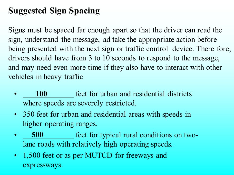 Suggested Sign Spacing _________*___ feet for urban and residential districts where speeds are severely restricted. 350 feet for urban and residential